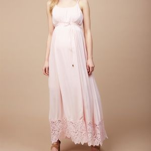 Lace Hem Maternity Maxi Dress in Pink
